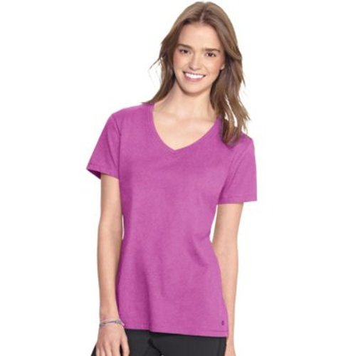Champion Authentic Women's Jersey V-Neck Tee in Raspberry Shock, Medium  HBI_CH8875