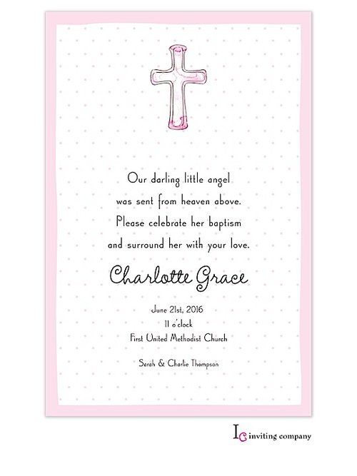 Cross Invitations Pink (20 per pack)