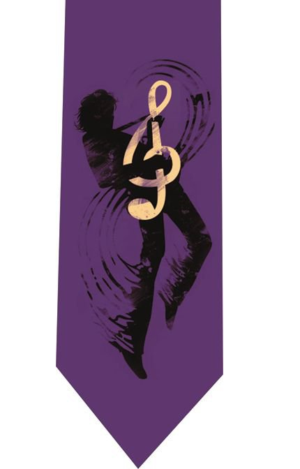 Treble Clef Guitar Tie - model 4 violet
