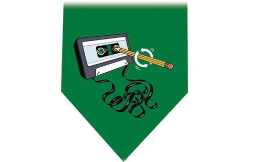 Cassette Tape & Pencil Tie - Audio Retro green
