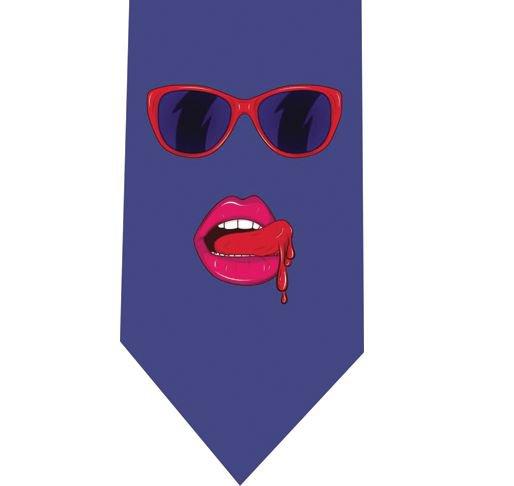 Woman lips pop Tie - Model 1 Blue