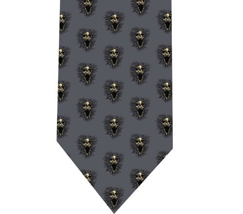 Screeming Skull Tie - Model 2 Grey