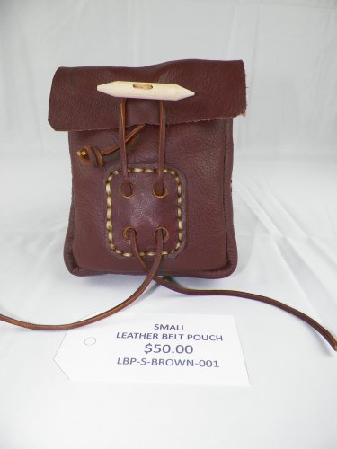 SMALL LEATHER BELT POUCH - LBP-S-Brown-001