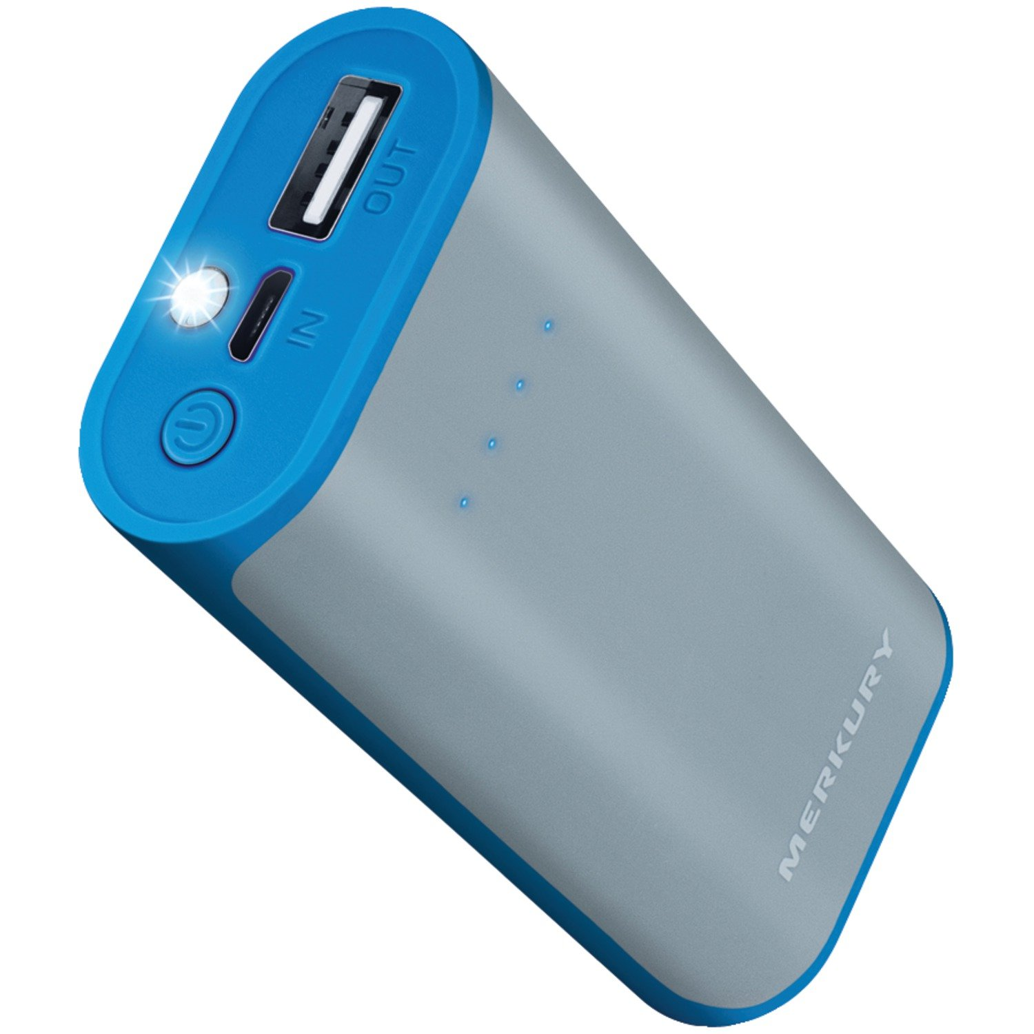 Merkury Mi-pb420-400 4,000mah Rubberized 2-tone Power Bank (gray/blue