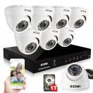 ZOSI 8CH 720P AHD SECURITY CCTV SYSTEM,720P AHD DVR + 8 PACKS WEATHERPROOF