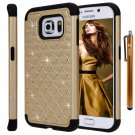 Style4U Case Cover for Samsung Galaxy S6 Edge Bundle with Stylus - Gold & Black