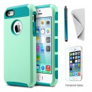 IPhone 5s  5g Se KXLY 2 in 1 Hybrid Hard PC Rugged Soft TPU Dual Layer  [reseda-Turquoise]