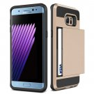 JOBSS Protective Wallet ID Card Holder Carrying Pouch Satin Finish Case  Samsung Galaxy S7 GOLD