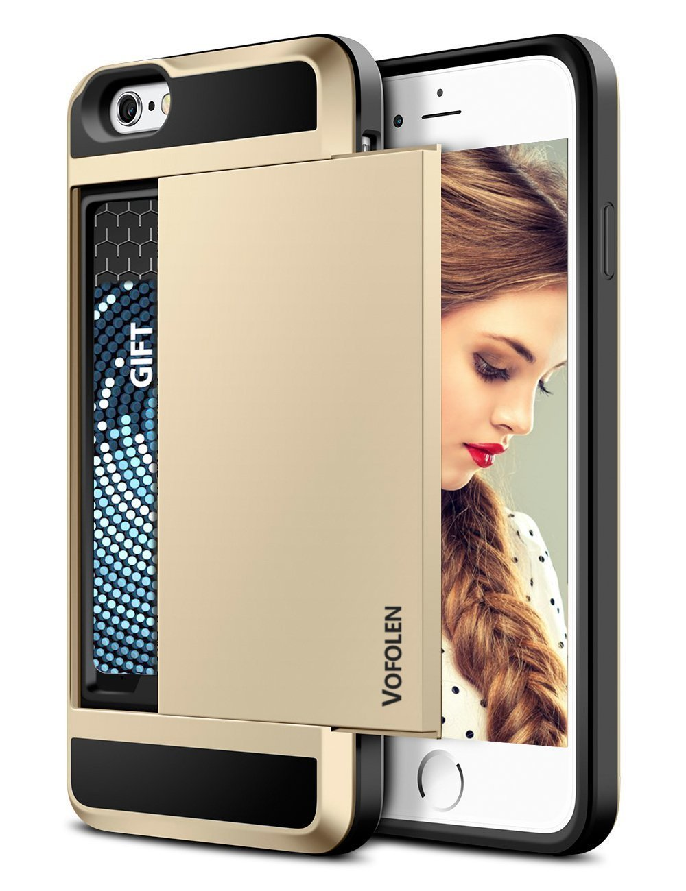 Vofolen Card Holder iPhone 6 Plus Wallet Case Dual Layer - GOLD/BLACK