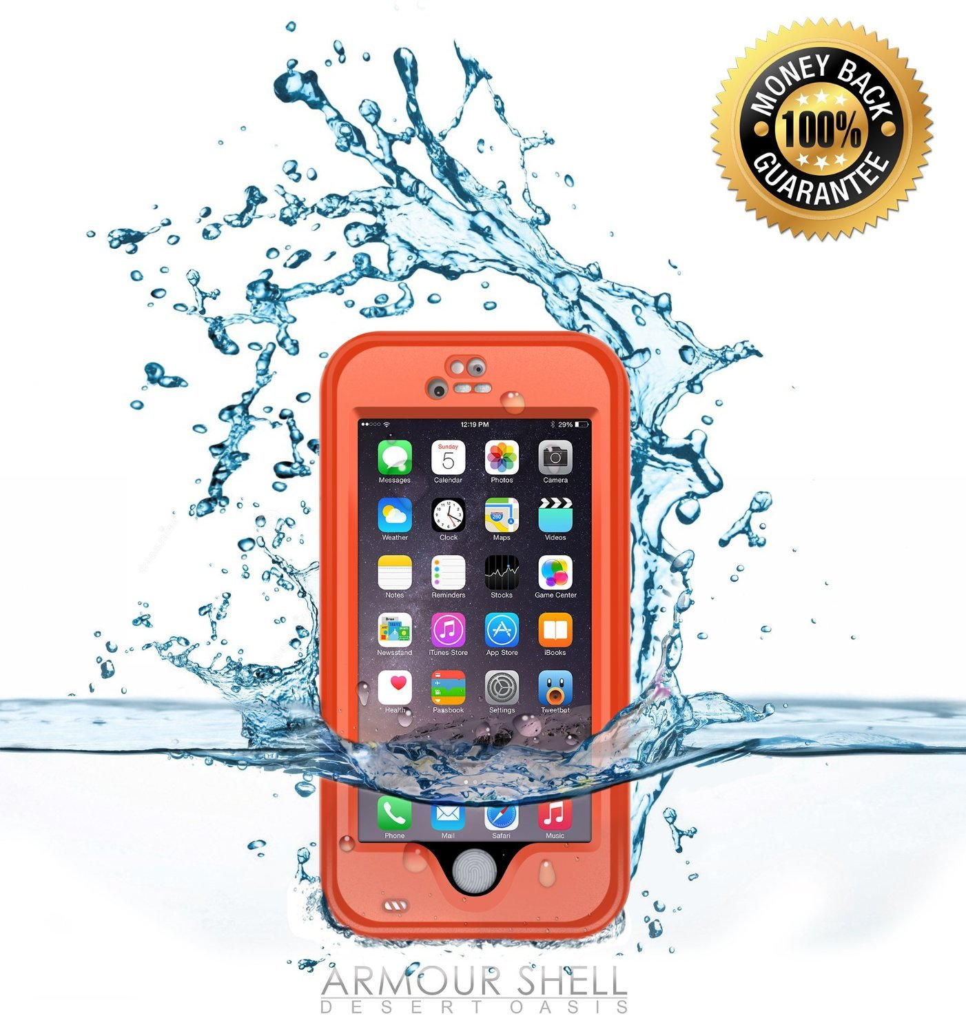Armour Shell IPHONE 6 CASE - WATERPROOF - ORANGE