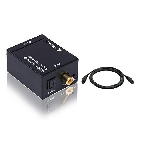 PORTTA PETDTAT1 Digital Coax and Optical Toslink to Analog Audio Converter with 1.8M TOSLINK CABLE