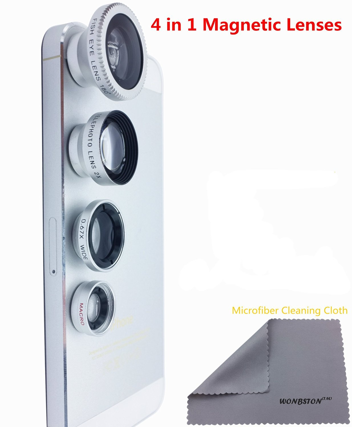 WONBSDOM 4 in 1 Universal Magnetic Detachable Fish Eye Lens - SILVER