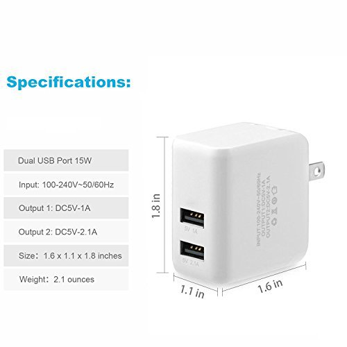 SNX 3.1 A 15W Dual Port Power Adapter with Certified 10 Feet / 3 Meters 8 Pin USB Charging Cord