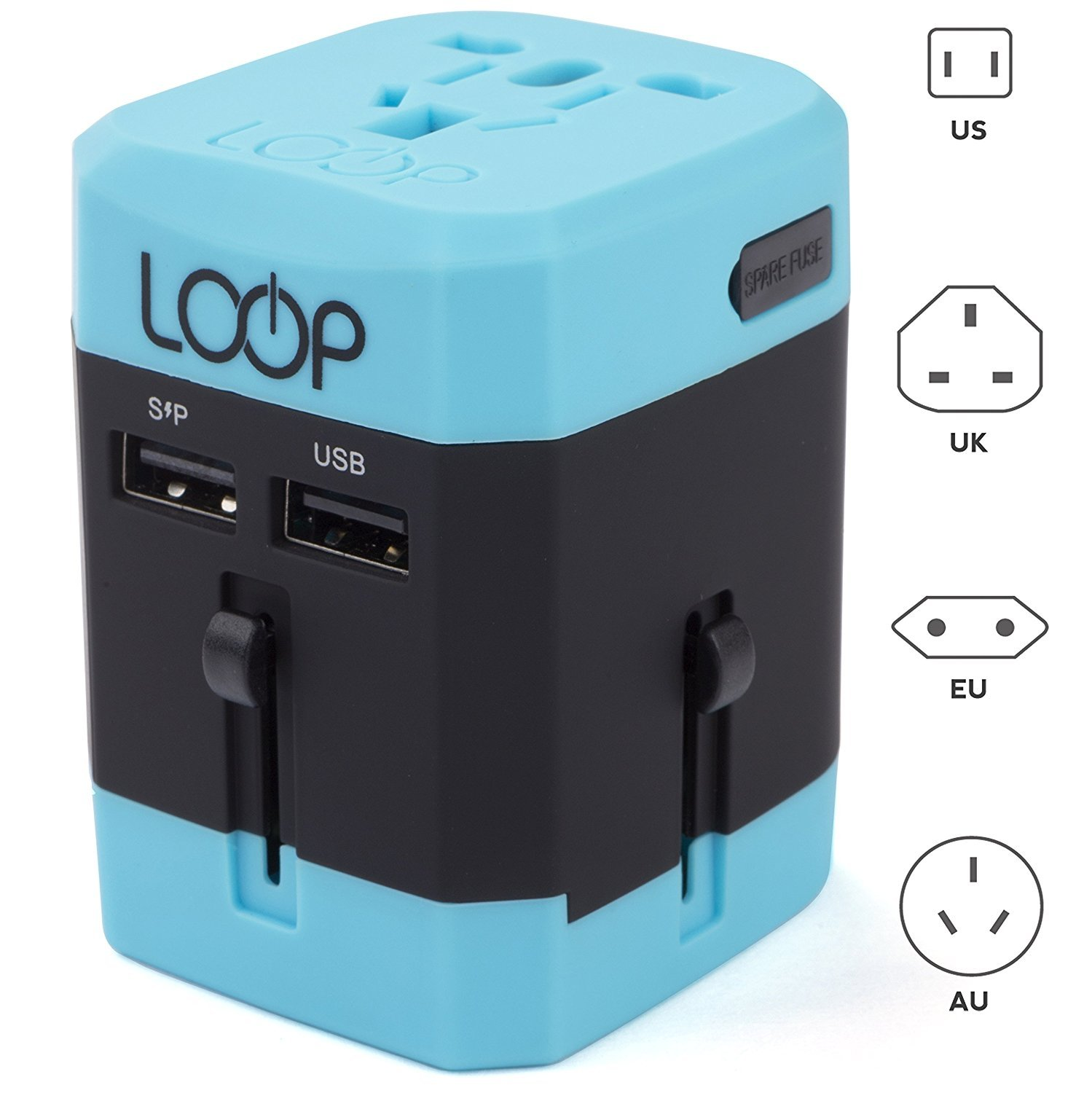 LOOP BEST Worldwide Travel Adapter with Dual USB Charging Ports International..