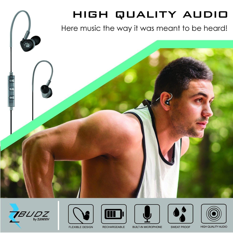 Bluetooth Wireless Sports Headphones Built-In Mic, Zbudz By Zunammy