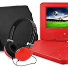 Ematic EPD909RD Swivel Portable DVD Player with Headphones and Bag RED