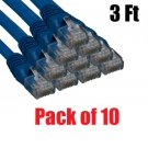 iMBAPrice® - (Pack of 10) Premium Pure Copper UL Listed Cat5E Ethernet Cable (3 Feet, Blue)