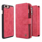 Belk iPhone 7 Plus Case, BELK Detachable 2 in 1 Magnetic Detachable Zip Wallet  - RED