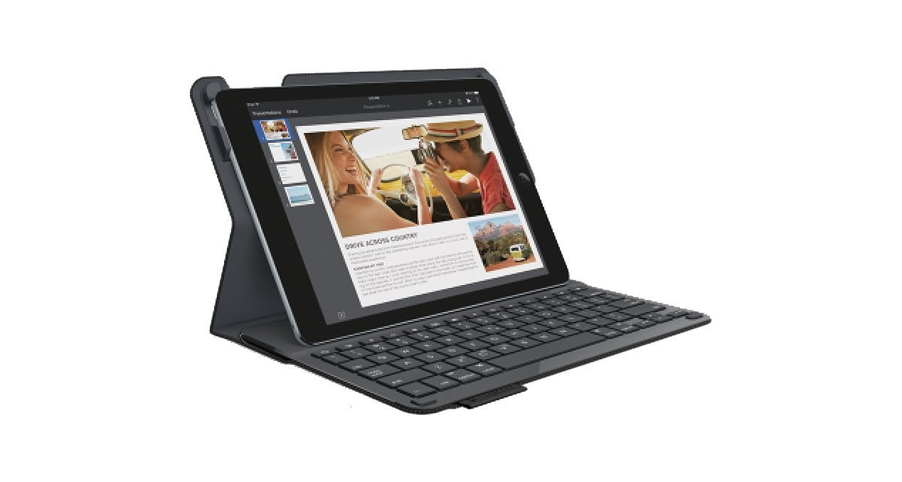 Logitech 920-006576 Protective Case with Integrated Keyboard for iPad Air 2 (Woven Black)