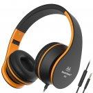 Sound Intone Headphones with Microphone - black/orange