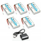 HOBBYTIGER 3.7V 1200mAh Lipo Battery 25C ( 5PCS ) + 5 in 1 Batteries Charger