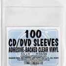 "SquareDealOnline - CDIVSB - CD Sleeves - 5.25"" x 6"" - Adhesive Backed - Vinyl - Clear - 100 Pack"