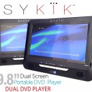 "Sykik 9.8"" Dual screen, dual DVD player. Both W/ built-in rechargeable battery."