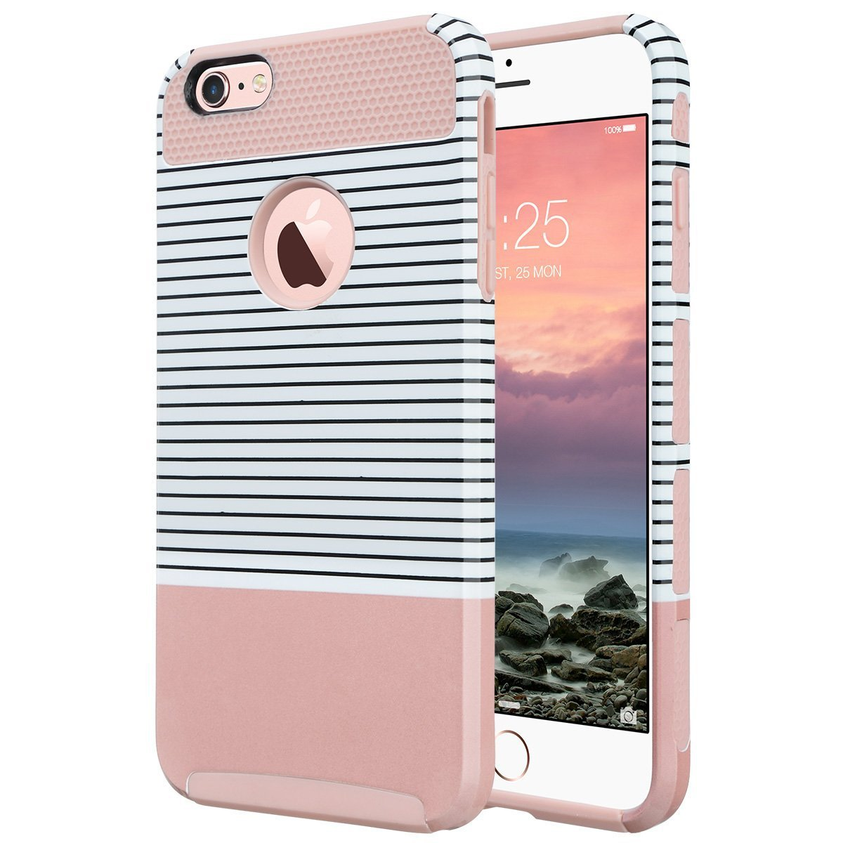 ULAK iPhone 6 Case, ULAK Hybrid Slim Case With Hard PC (Rose Gold/Pink/Minimal Stripes)