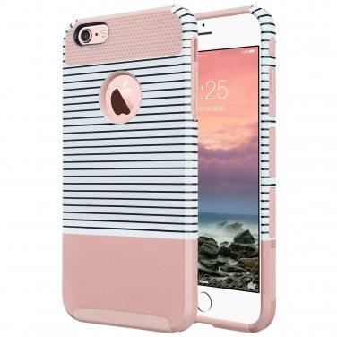 ULAK iPhone 6 Case, ULAK Hybrid Slim Case With Hard PC (Rose Gold/Pink/Minimal Stripes)