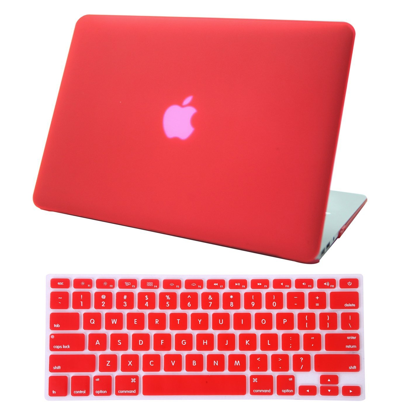 HDE MacBook Air 13 Case Solid Color Matte Plastic Slim Hard Shell Snap On Case red