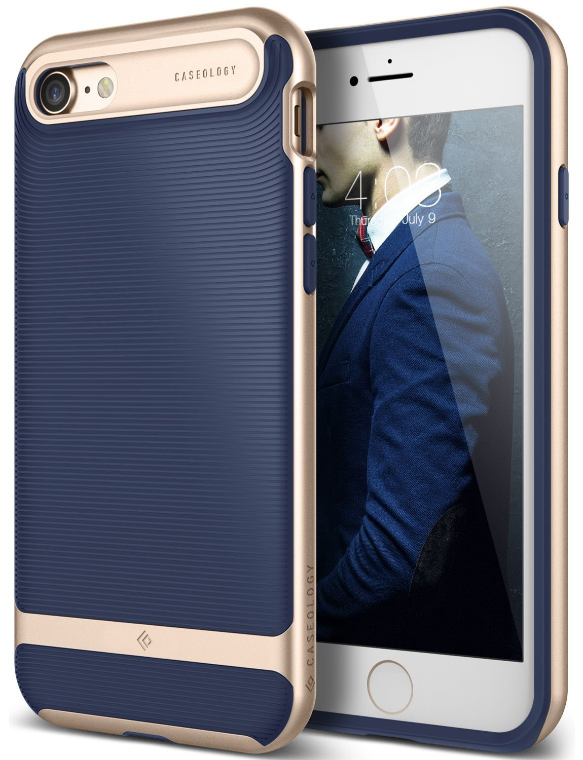 Caseology iPhone 7 Case, iPhone 8 Case Wavelength Series NAVY/GOLD