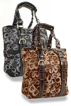 Brown Signature Braid Accented Tote Handbag
