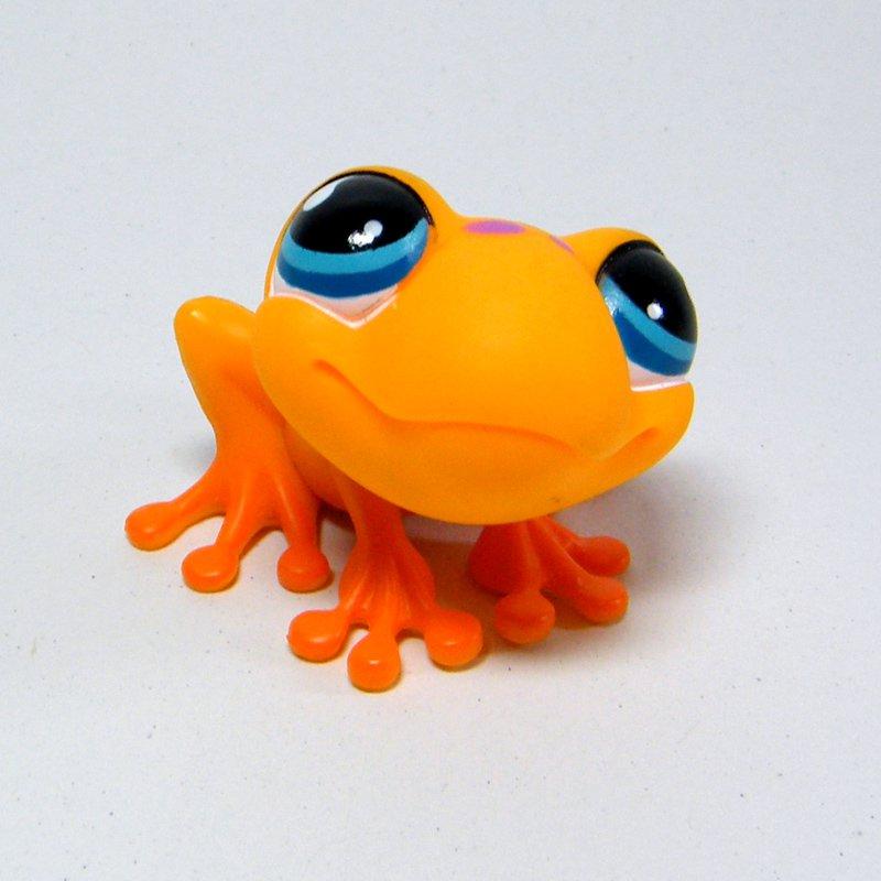 Littlest Pet Shop # 874 Orange TREE FROG Purple Spots Blue Teardrop Eyes LPS