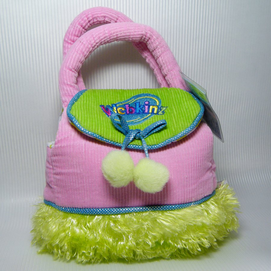 Webkinz PET CARRIER HC100 Plush Pink Corduroy & Green with Poms NEW Sealed Code