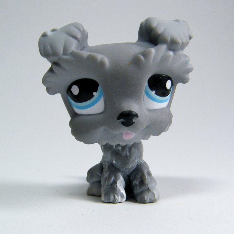 Littlest Pet Shop #1393 Gray Schnauzer Blue Eyes Puppy Dog