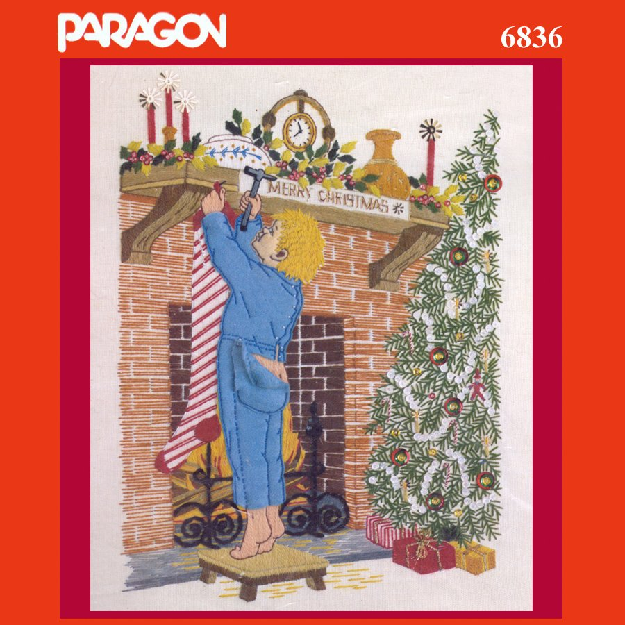 "Paragon ""CHRISTMAS EVE"" Crewel Embroidery Stitchery Kit 6836 Vintage"