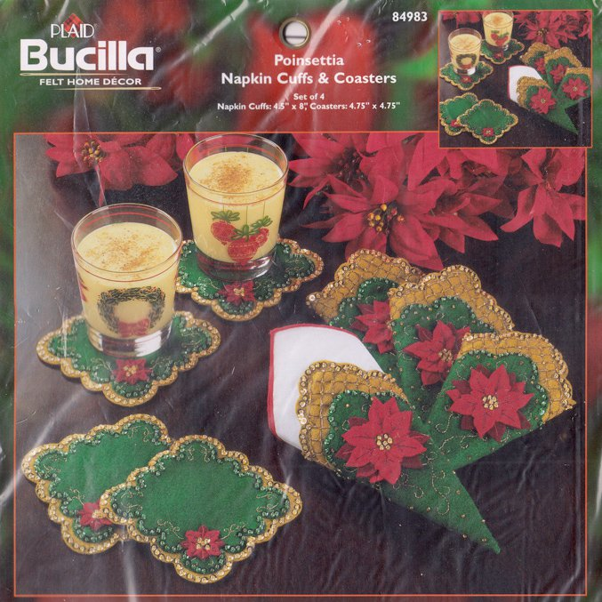 "Bucilla ""Poinsettia Napkin Cuffs and Coasters"" 84983 Felt Kit for Home Décor"