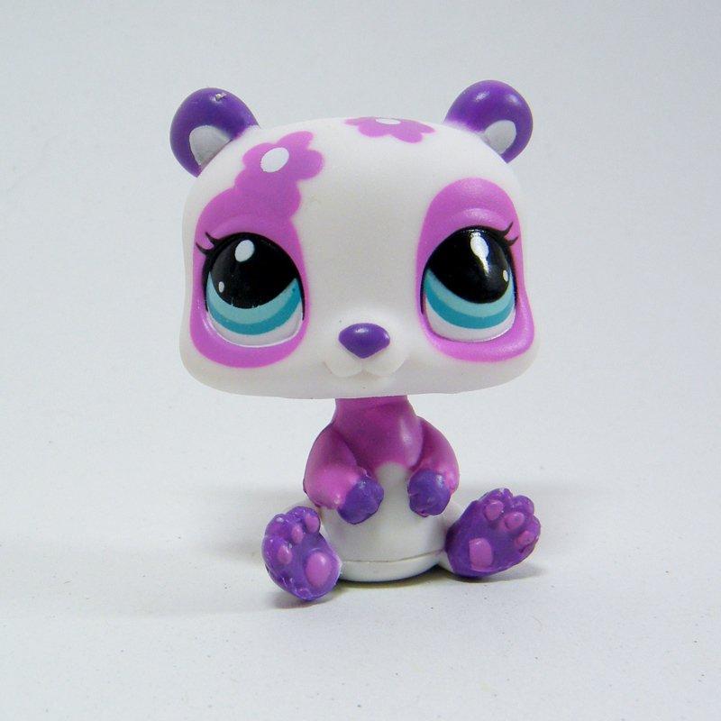 Littlest Pet Shop 2459 Panda Purple Flower with Blue Eyes LPS