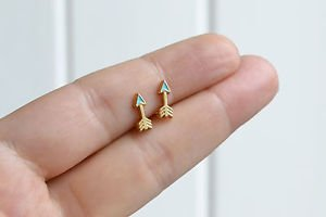 Arrows earrings - handmade tiny enamel studs/posts