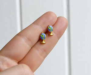 Globe earrings - handmade tiny enamel Earth studs/posts