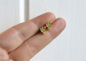 Cactus earrings - kawaii handmade tiny cacti enamel stud / post earrings