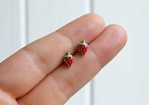 Strawberry earrings - handmade tiny enamel stud / post earrings