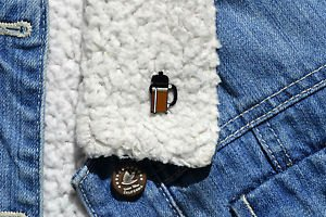 Coffee pin � cute enamel coffee press French cafe maker cafetiere brooch badge