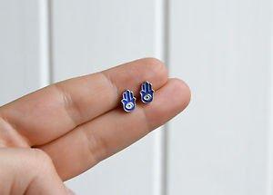 Hamsa earrings - handmade tiny enamel stud / post earrings