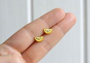 Lemon earrings - handmade tiny lemon slice citrus fruit enamel studs/posts