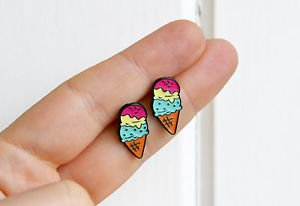 Ice cream earrings - kawaii trendy junk food enamel ice cream cone studs posts