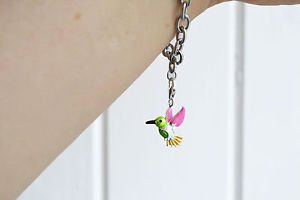 Hummingbird charm � trendy kawaii enamel metal hummingbird lobster clasp charm
