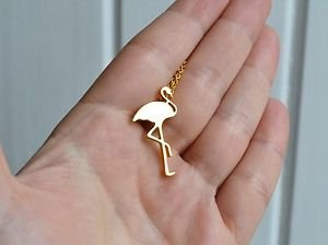 Flamingo necklace - kitsch kawaii flamingo bird gold chain necklace