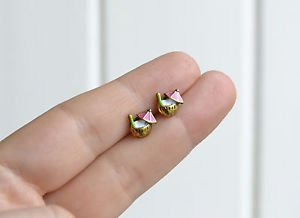 Coconut earrings - handmade tiny enamel stud / post earrings