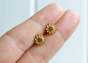 Sunflower earrings - kawaii handmade tiny enamel stud / post earrings